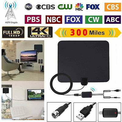 [100 Mile] Thin Flat Indoor HDTV Amplified HD TV Antenna 16FT Coax For Fosmon