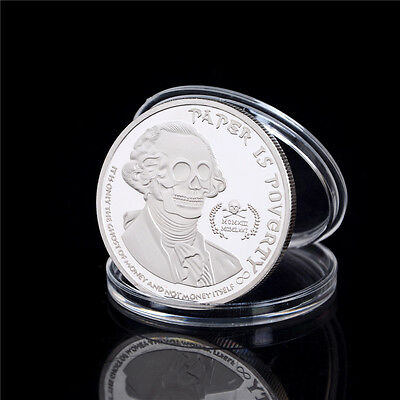 American Skull Ghost Money Silver Plated Commemorative Coin Collection Gift EC