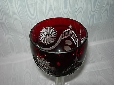 Antique/Vintage~Ruby cut to Clear~Crystal WINE GOBLET Hock Glass~pinwheel Cut
