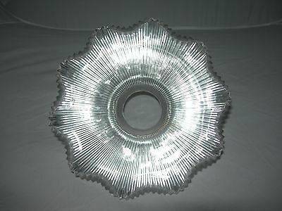 Antique/Vintage Ribbed Holophane Pagoda Clear Glass Pendant Light Shade Diffuser