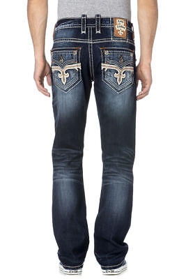 ROCK REVIVAL STRAIGHT LEG JEANS Buckle NWT Dark Josef Faux Flap Stretch Jean