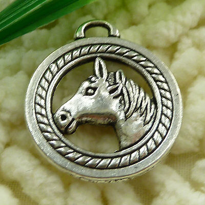 Free Ship 15 pieces tibetan silver horse head charms 28x25mm #1502
