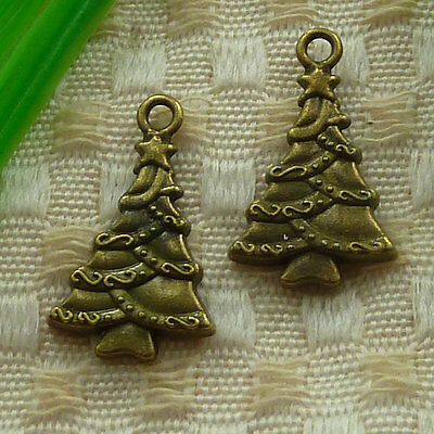 Free Ship 34 pieces gold plated Christmas tree charms 28x18mm #945