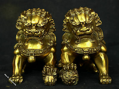 "7"" China Bronze Brass brave troops Foo Dog Lion Beast Fengshui Statue Sculpture"