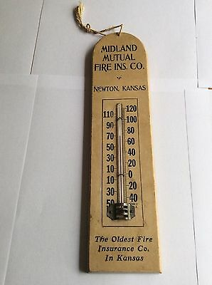 1915 Midland Mutual Fire Insurance Adv Thermometer