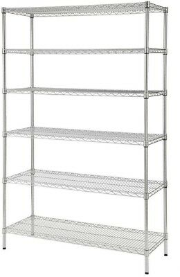 48 x 72 x 18 in Decorative Wire Chrome Heavy Duty Shelving Unit Garage Shop Home