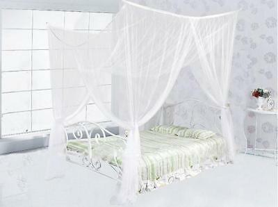 4 Corners Square Full Queen King Size Bed Canopy Bedroom White Mosquito Net