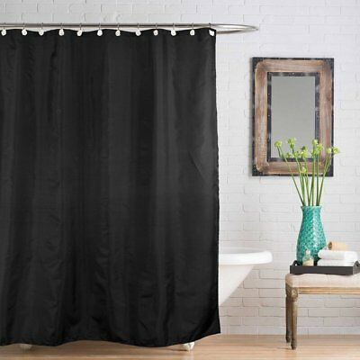 Modern Waterproof Mould Resistant Plain Black Fabric Shower Curtain Weighted Hem