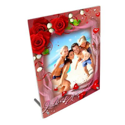 """Personalised Photo, Valentines, Love, 8"""" x 10"""" Toughened Glass Frame, Peg Stand"""