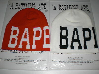 a87cac74b6a Authentic A Bathing APE BAPE NYC KNIT CAP BEANIE NEW WHITE RED FREE SHIPPING