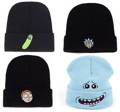 da59dab1028e1 Rick and Morty Beanie Knitted Hat Pickle Rick Sanchez Winter Mr Meeseeks  New UK