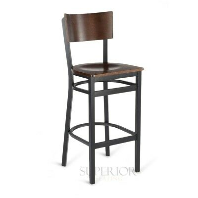 Commercial Restaurant Metal Bar Stoolswith Square Walnut Veneer Seat and Back