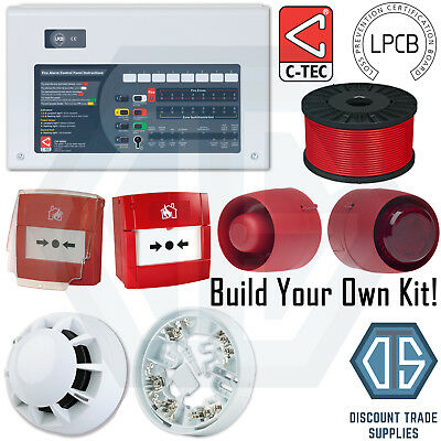 C-TEC Fire Alarm System 2 4 8 Zone Panel Custom Kit Detector Call Point Sounder