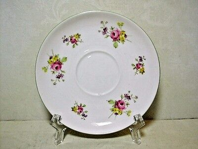 """Shelley Saucer Only 5 5/8"""" Dia. Fine Bone China Green Rim on White with Florals"""