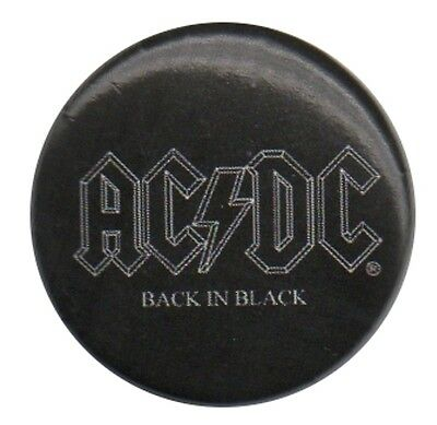 Official ACDC Back in Black logo 1 inch button pin badge