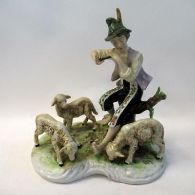 Vintage Dresden Figurine Ornament - Young Shepherd Plays Flute For Three Sheep