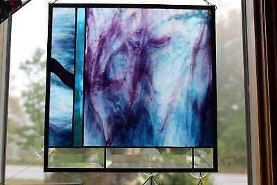 Stained Glass Panel in Blue and Purple with Bevels