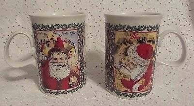 Pair of 2 - Matching Christmas SANTA Victorian Mugs by Dunoon Made in England