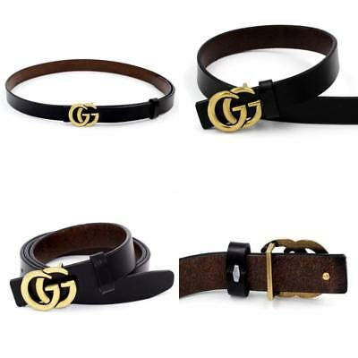 Womens Genuine Leather With Fashion Letter Buckle Thin Belts For Jeans 0.9″ Wide