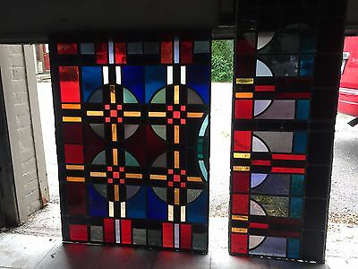 Pair of Antique Celtic Church Leaded Stained Glass Set