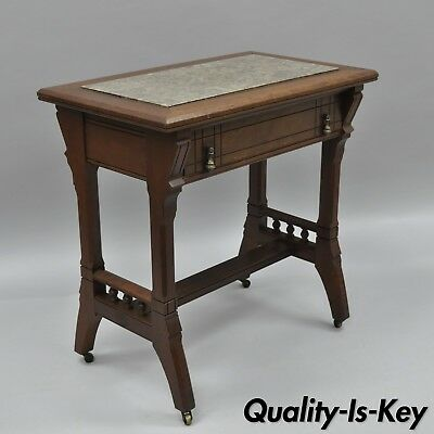 Eastlake Victorian Work Table Stand Small Desk Walnut Marble Top One Drawer