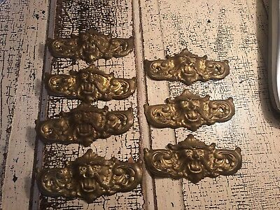 Lot Of 7 Antique Drawer Pulls Back Plate Lions Head Gold Tone