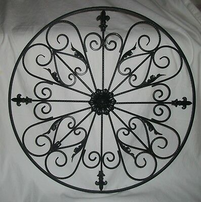 Round Wrought Iron Wall DECOR Rustic Scroll Fleur De Lis Vintage