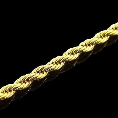 """Men's Women's 14K Yellow Gold Plated 4mm Rope Chain Necklace 24"""""""