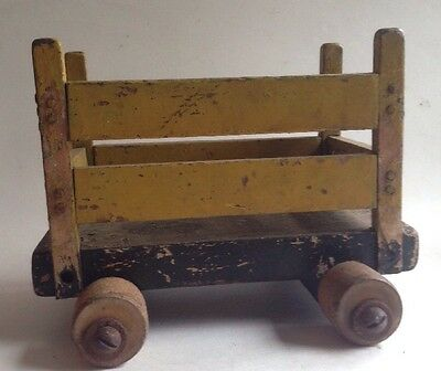 Primitive Pull Cart Wood Wheels / Table Tray  Original YELLOW Paint