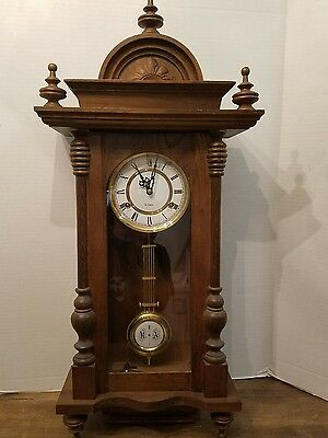 Vintage 1980s Wooden R A Pendulum Wall Clock 31 Day Wind Up