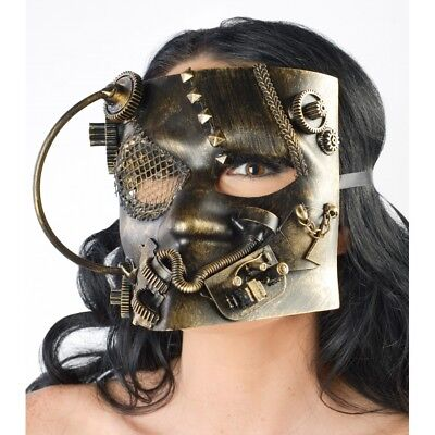 Halloween Steam Punk Costume Mask with Gears and Eyepiece Terminator Inspired