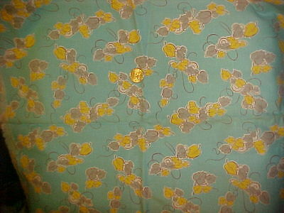 Flour Feed Cotton Print Sack Turquoise Yellow and Gray Leaves Vintage