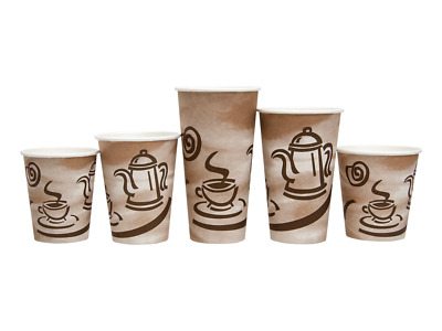 "Empress Paper Hot Cups w/ ""Coffee"" Design, 8 oz, Case of 1000"