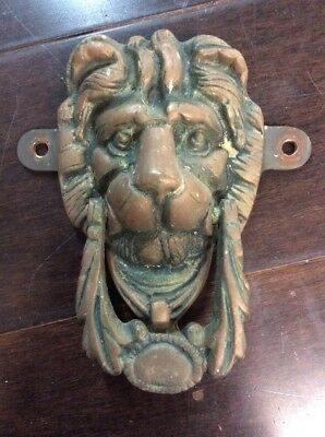 Antique Brass Lions Head Door Knocker W/ Mount Bracket Architectural Salvage