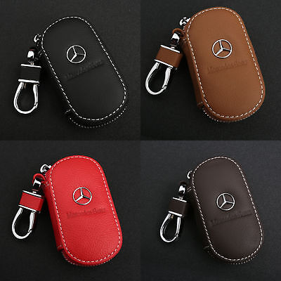 Genuine Leather Car Remote Key Chain Holder Case Bag Fit For Mercedes Benz