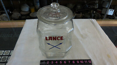 Vintage Large Lance Blue Crossed Arrows Glass Jar