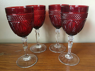 Ruby Red Wine Vintage Cristal d'Arques Durand France set of 4
