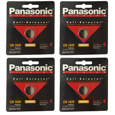 4 Panasonic CR 1620 Lithium Coin Cell 3V Battery Single Pack / Replaces E-CR1620