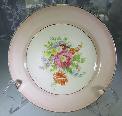 "Vintage Porcelain Knowles Semi Vitreous China Floral saucer 6"" Plate Flowers USA"