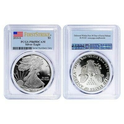 Lot of 2 - 2018-W 1 oz Proof Silver American Eagle PCGS PF 69 DCAM First Strike