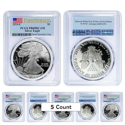 Lot of 5 - 2018-W 1 oz Proof Silver American Eagle PCGS PF 69 DCAM First Strike