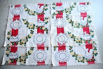 Set of 6 Vintage Placemats Cotton Fabric Printed Design Chicken Rustic Farmhouse