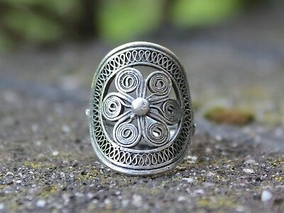 Boho gypsy hippie filigree ring Handmade Ethnic Miao silver ring Gift for her