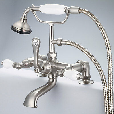 Water Creation  F6-0007-02-PL Brushed Nickel & Porcelain Claw Foot Tub Faucet