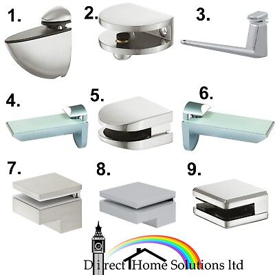 Hafele Large Shelf Support Bracket Clamps Stainless Steel Glass & Wooden Shelves