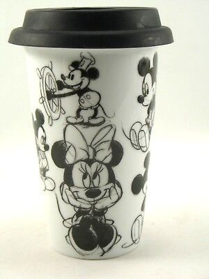 Disney Mickey and Minnie Mouse Black and White Sketch Porcelain Travel Mug