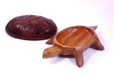 Hand Carved Wooden Turtle Trinket Jewelry Box Decoration 7 in. Long Ships FAST!!