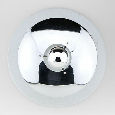 Vintage Ceiling Lamp Light Italy 1960s Old Round White Chrome Mid-Century ❤️