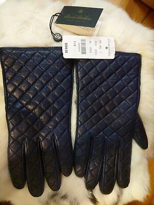 NWT Brooks Brothers Women's Cashmere Lined Leather Gloves Size 7.5 Dark Blue