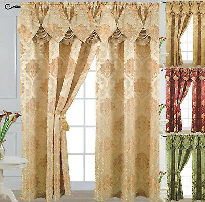 "Luxury Jacquard Curtain Panel with Attached Waterfall Valance 54"" X 84"" Angelina"